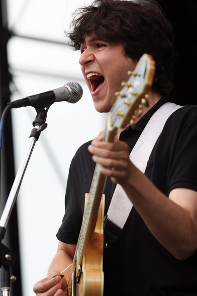 Vampire Weekend's Ezra Koenig performing at the 2008 Pitchfork Music Festival in Chicago.