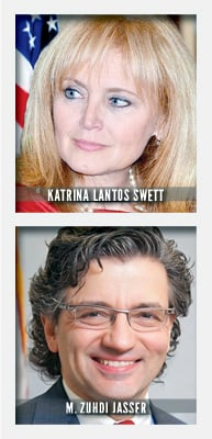 Katrina Lantos Swett serves as Chair of the U.S. Commission on International Religious Freedom and is president and CEO of the Lantos Foundation for Human Rights & Justice. M. Zuhdi Jasser serves as a USCIRF Commissioner and is president of the American Islamic Forum for Democracy.