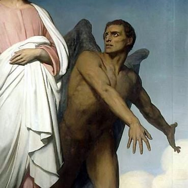 "The devil is portrayed in ""The Temptation of Christ,"" an 1854 painting by Ary Scheffer. The Church of England on July 14, 2014, approved alternative language in its baptism rite that removed a reference to the devil, who ""has been turned into a cartoon-like character of no particular malevolence,"" said Robert Paterson, the Bishop of Sodor and Man."