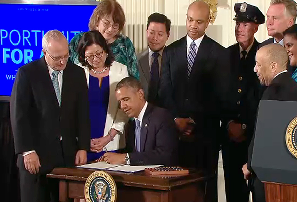 President Obama on July 21, 2014 signed an executive order banning federal contractors from discriminating on the basis of sexual orientation or gender identity.