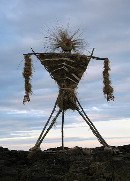 Observers of Lughnasadh, the wheat harvest festival, erected this straw-filled representation of a deity while it was still light outside, before setting it on fire once the sun had set. For use with RNS-PAGAN-LAMMAS transmitted Aug. 1, 2014. Creative Commons image by Bruce McAdam