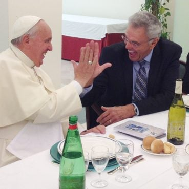"James Robison explains a ""high five"" to Pope Francis at the Vatican on June 24, 2014. During their meeting, they agreed all Catholics and Protestants need to come to know Jesus personally."