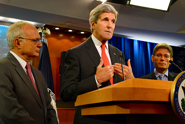 Secretary of State John Kerry released the 2013 annual report on International Religious Freedom at the U.S. Department of State in Washington, D.C., on July 28, 2014. Flanking Kerry is David Saperstein, left, President Obama's nominee to serve as ambassador-at-large for international religious freedom, and Tom Malinowski, assistant secretary of state for democracy, human rights and labor.