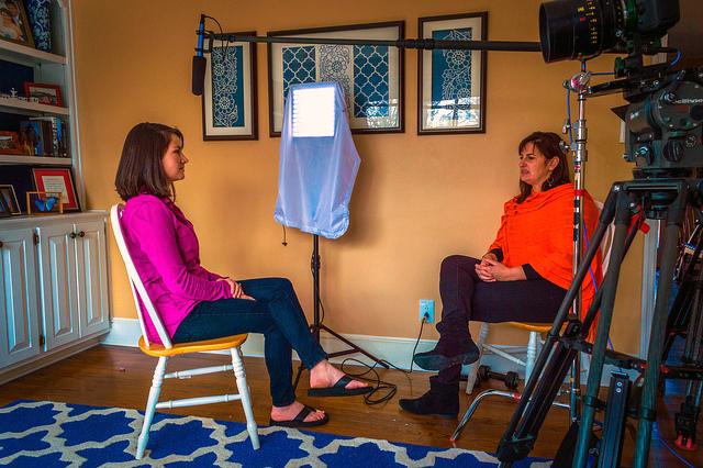 """Filmmaker Linda Midgett, right, interviews Meghan Blanton Smith for the former's documentary film, """"The Stranger."""""""