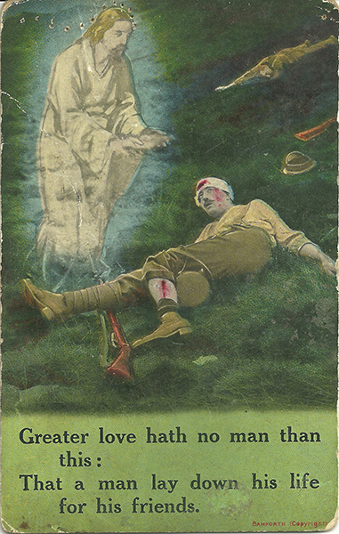 Typical religious postcards sent to loved ones during World War I.