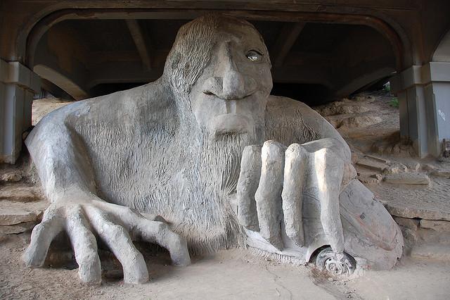 The Fremont troll in Seattle, Washington.