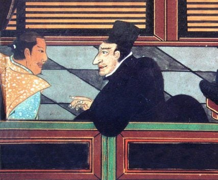 Jesuit with a Japanese nobleman, circa 1600.