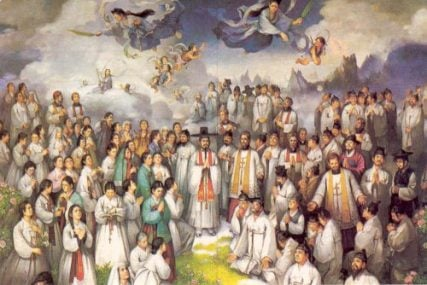 A painting of 103 Korean martyrs with St. Andrew Kim, the first Korean Catholic priest.