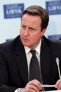 Prime Minister David Cameron at the London Conference on Libya, on March 29, 2011.