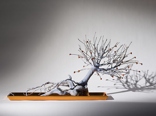 """""""Dwarfed Blue Pine,"""" by Rona Pondick, is a painted bronze sculpture that is being exhibited in """"Back to Eden: Contemporary Artists Wander the Garden"""" at New York's Museum of Biblical Art. Photo courtesy of Sonnabend Gallery, New York, and Galerie Thaddaeus Ropac, Paris/Salzburg"""