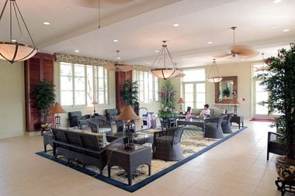 Guests enjoy the lobby area of the newly opened Navy Lodge Hawaii located on Ford Island.