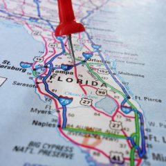 Closeup of a Florida map.