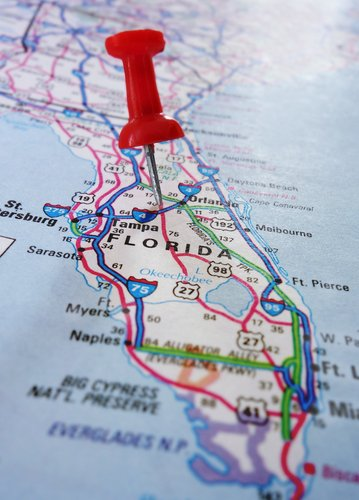 Close-up of a Florida map.