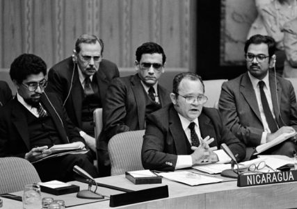 The Rev. Miguel d'Escoto Brockman, then Minister of Foreign Affairs of Nicaragua, addresses the Security Council on 9 May, 1983. Photo courtesy of United Nations