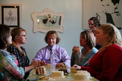 """Kody Brown, center, stars in TLC's show """"Sister Wives"""" with (left to right) sister wives Robyn, Christine, Meri and Janelle. RNS file photo courtesy TLC."""