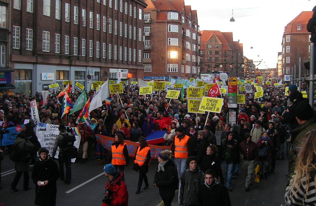 Demonstrators march at the 2009 United Nations Climate Change Conference (COP15) in Copenhagen, Denmark. Photo by Pechke, via Wikimedia Commons.