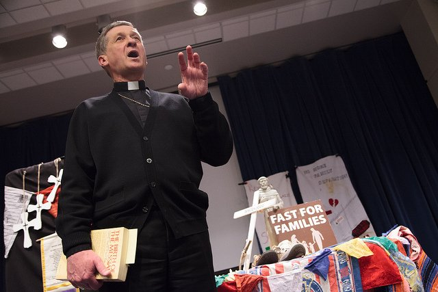 Bishop of Spokane, Blase Cupich, welcomes Fast for Families on March 6, 2013, during an evening community meeting at Gonzaga University.