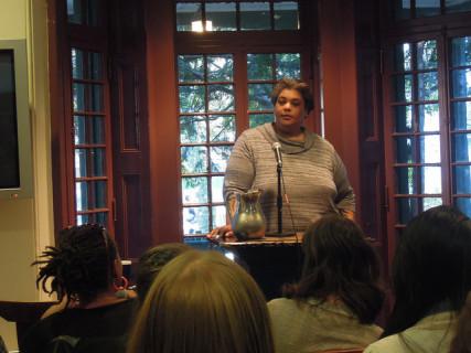 Roxane Gay at a reading in April 2014 | Photo by kellywritershouse via Flickr (http://bit.ly/1v3OTWL)