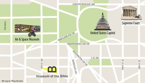 The Museum of the Bible is located two blocks from the National Mall, at 300 D Street, SW. RNS map by Tiffany McCallen; Wikimedia Commons D.C. landmarks by Jarek Tuszynski, Ad Meskens, Diliff