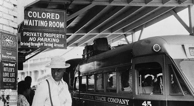 A bus station in Durham, North Carolina, May 1940. -  Credit: Jack Delano / Courtesy: Library of Congress via Wikimedia Commons (http://bit.ly/YjKhPE)