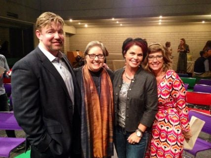 Left to right, Mitch Mayne, Dr. Caitlin Ryan, Wendy Montgomery, and Diane Oviatt pose for a photograph, during the showing of a documentary about a Mormon family whose 13-year-old son came out as gay. Photo courtesy of Mitch Mayne