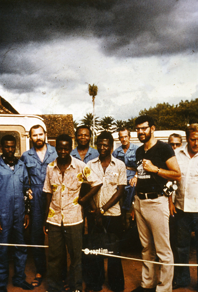 Peter Piot (second from left) on October 20, 1976, the day of his arrival in Yambuku to investigate the first Ebola outbreak, together with fellow scientists and local health workers. Photo courtesy of Joel Breman
