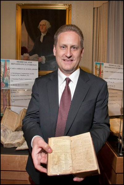 Museum of the Bible Board Chairman Steve Green, with one of the more than 44,000 rare biblical texts and artifacts his family began collecting in 2009. Green has assembled a team of academics, designers, technology professionals and other experts to create a museum dedicated to a scholarly and engaging presentation of the impact, history and narrative of the Bible. The museum is scheduled to open in Washington D.C., in fall 2017. Photo courtesy of Museum of the Bible