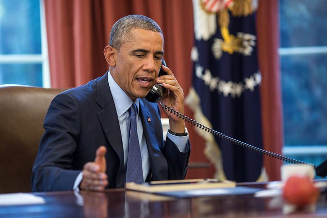 President Obama talks on the phone with Dr. Tom Frieden, Director of the Centers for Disease Control and Prevention, about recently-diagnosed Ebola cases in Dallas, Texas. Official White House Photo by Pete Souza