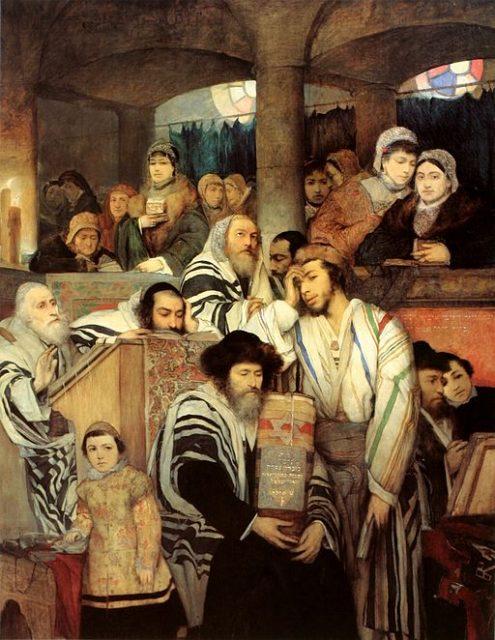 Jews praying in the synagogue on Yom Kippur.