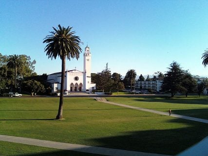Loyola Marymount Sunken Gardens Sacred Heart Chapel.
