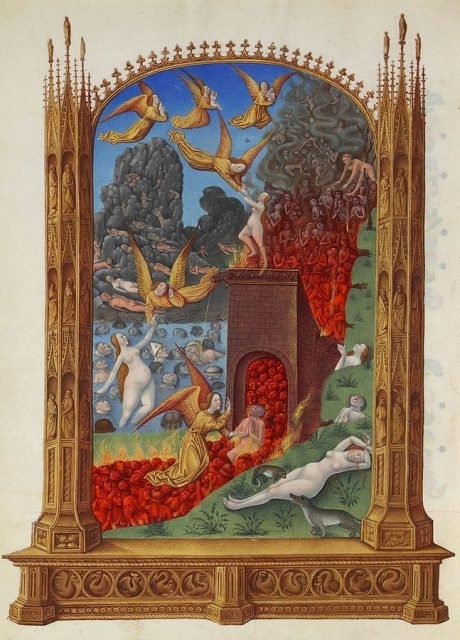 "A painting from ""Les Très Riches Heures du duc de Berry,"" which shows purified souls in Purgatory. The souls are trapped in water, fire, on rocky and grassy land, where the are rescued by Angels."