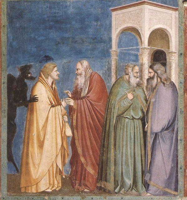 Giotto di Bondone (1267-1337), Cappella Scrovegni a Padova, Life of Christ, Judas Receiving Payment for his Betrayal.
