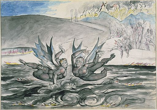 Illustrations to Dante's Divine Comedy, object 44 (Butlin 812-42) The Baffled Devils Fighting.