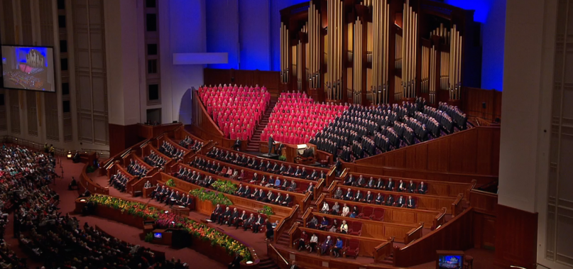 The opening hymn by the Mormon Tabernacle Choir.