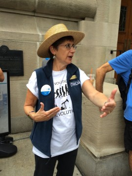 Ethical Culture Leader Anne Klaeysen at the 2014 People's Climate March. Photo by Beth Zucker, courtesy of Klaeysen.