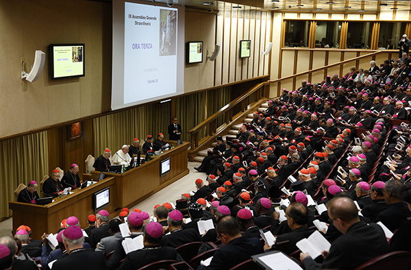 Pope Francis and prelates attend the morning session of the extraordinary Synod of Bishops on the family at the Vatican on Oct. 9, 2014. Photo by Paul Haring, courtesy of Catholic News Service