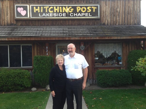 (RNS) Donald and Evelyn Knapp own the Hitching Post Wedding Chapel in Coeur d'Alene, Idaho, where local officials say they could face misdemeanor charges for refusing to marry same-sex couples. RNS photo courtesy Alliance Defending Freedom.
