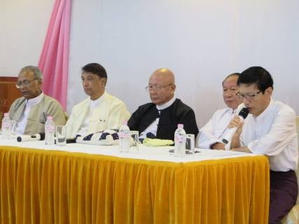 """Reflecting on Faith in Myanmar Media"" panel. From left, U Aung Naing, Hindu community andExecutive committee member at Religions for Peace; U Aye Lwin, Chief Convener at the Islamic Centre of Myanmar and Founding Member, of Religions for Peace; U Myint Swe, President of Ratana Metta Organization and Chairman of Religions for Peace; Dr Saw Hlaing Bwa, Christian leader and Professor at the Myanmar Institute of Theology; and moderator U Myint Kyaw, Secretary General of the Myanmar Journalist Network."