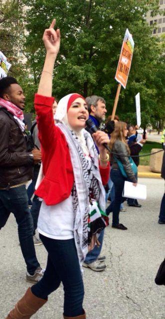 Linda Sarsour protests during a rally in Ferguson, Mo. Photo courtesy of Linda Sarsour