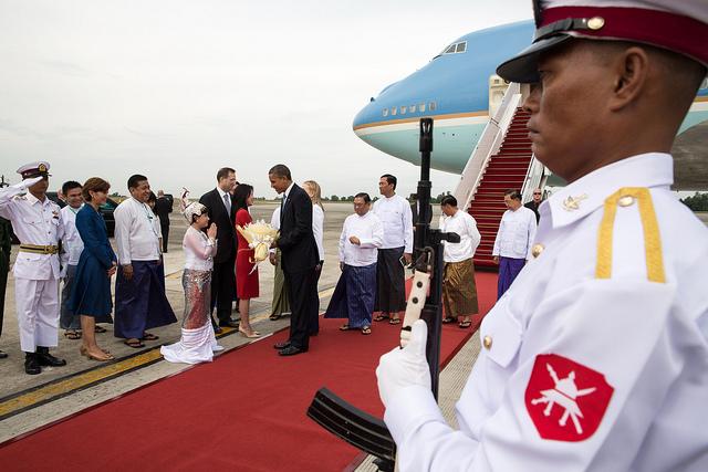 President Barack Obama arrives at Yangon International Airport in Rangoon, Burma on Nov. 19, 2012.