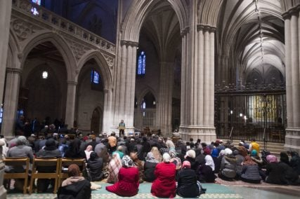 The Washington National Cathedral invited Muslims to lead their own prayers at the cathedral for the first time Friday (Nov. 14, 2014). Photo courtesy of Lisa Helfert/Washington National Cathedral