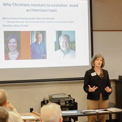 BioLogos president Deborah Haarsma lectures on Christianity and evolution. - Image courtesy of the Biologos Foundation