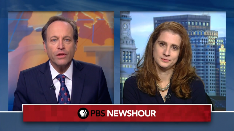 """Kristine Haglund, editor of """"Dialogue,"""" appeared last night on the PBS Newshour."""