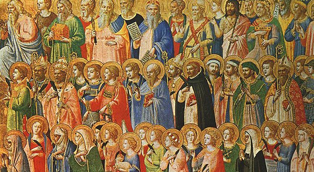 """Saint are reminders that if you follow Jesus, in the words of Flannery O'Connor, """"you will know the truth and the truth will make you strange."""" - Image of """"The Forerunners of Christ with Saints and Martyrs"""" by Fra Angelico is courtesy of Wikimedia Commons (http://bit.ly/1vC9kqm)"""