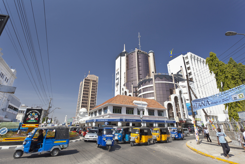 Modern business district on Moi Avenue in Mombasa, Kenya on February 18, 2013.