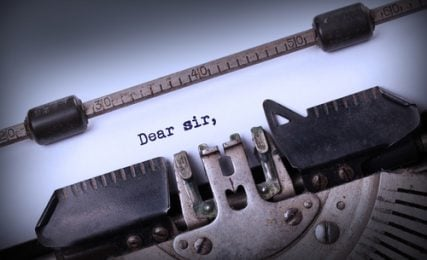 A letter written by typewriter.