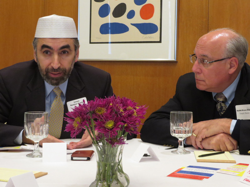 Imam Mohamad Bashar Arafat, left, and Rabbi Bruce Kahn at a summit of Washington, D.C. area rabbis and imams on Sunday, Nov. 23, 2014. The group aimed to ease tensions between Muslims and Jews, especially in light current violence in the Holy Land. Religion News Service photo by Lauren Markoe
