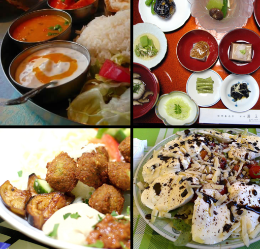 Assorted vegetarian dishes. Image via Wikimedia Commons.