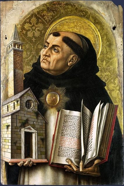 A 15th century painting of St. Thomas Aquinas.