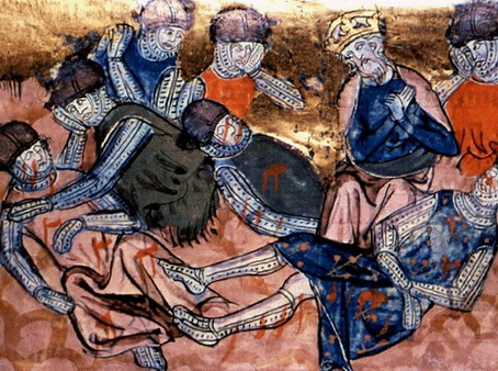 Charlemagne finds Roland dead (14th century miniature)